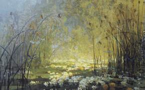 Картинка пейзаж, картина, Пьер Эжен Монтезин, Pierre-Eugene Montezin, Пруд с Кувшинками и Стрекозами