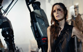 Картинка взгляд, поза, актриса, hair, look, pose, actress, Саммер Глау, Summer Glau, jacket, Terminator:The Sarah Connor …