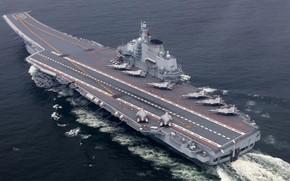 Картинка Самолет, Волна, Авианосец, Палуба, ВМС КНР, Shenyang J-15, Ляонин (16)