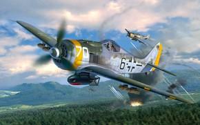 Обои лес, горы, огонь, дым, истребитель-бомбардировщик, ETC 50, держателями, Fw.190F, с четырьмя подкрыльевыми, SG10, Fw.190F-8/R1