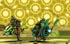 Картинка Будущее, Роботы, Fantasy, Арт, Art, Robots, Фантастика, Bike, Киборг, Экипировка, Киборги, Transport & Vehicles, Ховербайк, …