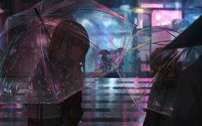 Картинка город, люди, дождь, дороги, вечер