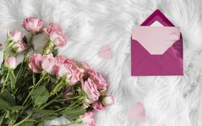 Картинка Love, розы, букет, мех, конверт
