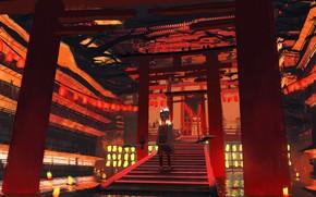 Картинка река, япония, фонари, лестница, девочка, вороны, ворота тории