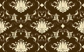 Картинка фон, коричневый, орнамент, style, винтаж, бежевый, ornament, seamless, victorian