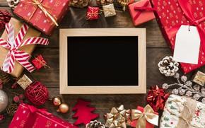 Картинка украшения, рамка, Новый Год, Рождество, подарки, Christmas, wood, New Year, gift, decoration, frame, Merry