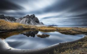 Обои море, берег, Vestrahorn Islande