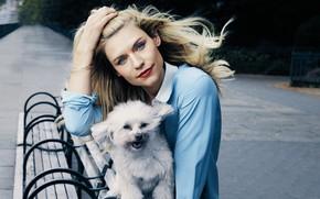 Картинка взгляд, поза, собака, макияж, актриса, Claire Danes, Клэр Дэйнс