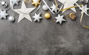 Картинка шары, Новый Год, Рождество, silver, golden, Christmas, balls, New Year, decoration, Merry, крашения