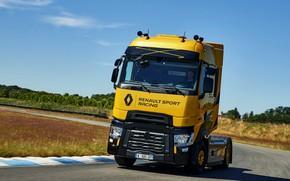 Картинка трасса, поворот, грузовик, Renault, 2018, тягач, T520, Renault Trucks, T-series, Renault Sport Racing, High Cab, ...