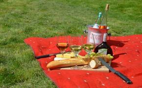 Картинка вино, сыр, бокалы, хлеб, виноград, нож, доска, пикник