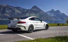 Картинка горы, Mercedes-Benz, вид сзади, AMG, Coupe, G63, Widebody, Prior-Design, C-Class, 2017, C205, PD65CC