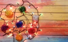 Картинка праздник, свечение, Новый год, широкоформатные, background, обои на рабочий стол, полноэкранные, HD wallpapers, гирлядна, широкоэкранные, …