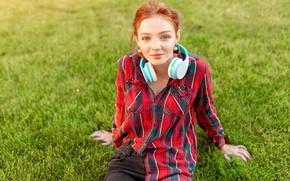 Картинка Девушка, наушники, рыжая, Andrii Afanasiev