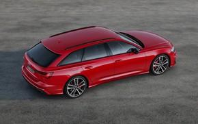 Картинка красный, Audi, сверху, сбоку, универсал, 2019, A6 Avant, S6 Avant