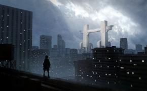 Картинка город, человек, врата, на крыше