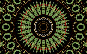 Картинка узор, круг, перец, чёрный фон, калейдоскоп