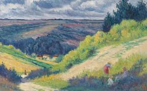 Картинка картина, Максимильен Люс, Maximilien Luce, 1903-04, Пейзаж с Холмами возле Мулинё