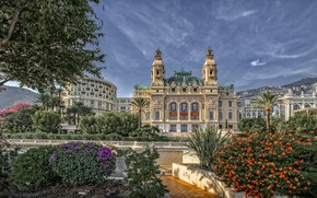 Картинка цветы, пальмы, здания, Монако, Монте-Карло