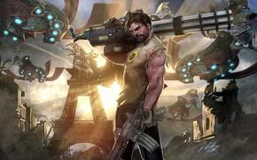 Картинка оружие, фантастика, мужчина