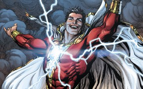 Картинка fantasy, lightning, comics, artwork, superhero, costume, fantasy art, DC Comics, Shazam, cape
