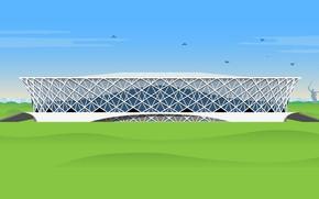 Картинка Футбол, Россия, Арт, Арена, Стадион, Arena, Волгоград, Volgograd, Volgograd Arena, Волгоград Арена, «Волгоград Арена»