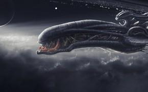 Картинка Облака, Планета, Космос, Корабль, Fantasy, Clouds, Space, Art, Космический Корабль, Спутник, Planet, Фантастика, Aliens, Spaceship, …