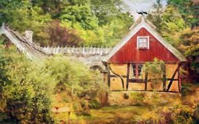 Картинка лето, деревья, дом, картина, сад, арт, домик, живопись, кусты, аисты