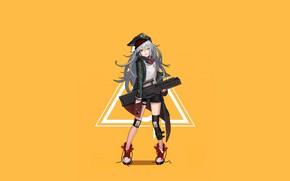 Картинка девушка, оружие, фон, кепка, Girls Frontline, Девушки фронта