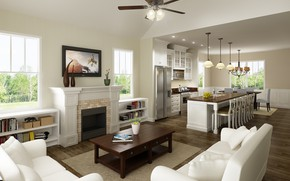 Картинка интерьер, кухня, камин, гостиная, столовая