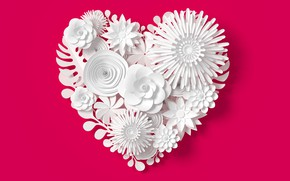 Картинка цветы, рендеринг, узор, сердце, love, white, heart, flowers, композиция, rendering, paper, composition, floral