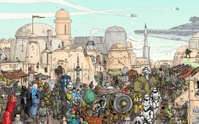 Картинка Город, Star Wars, Герои, City, Fantasy, Арт, Art, Фантастика, Сцена, Космический корабль, Spaceship, Персонажи, Действия, …