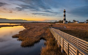 Картинка USA, grass, sky, trees, landscape, nature, sunset, water, clouds, plants, lighthouse, North Carolina, wooden bridges, …
