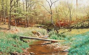 Обои 1902, Spring landscape, Весенний пейзаж, Peder Mørk Mønsted, Петер Мёрк Мёнстед, датский живописец, Danish realist ...