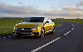Картинка асфальт, жёлтый, равнина, Volkswagen, 2018, R-Line, лифтбэк, 2017, Arteon