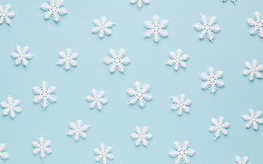 Картинка зима, снежинки, фон, голубой, Christmas, blue, winter, background, snowflakes