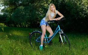 Картинка girl, bike, beauty, garden, sports