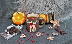 Картинка чай, апельсин, шоколад, декор