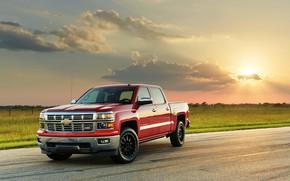 Картинка дорога, поле, car, машина, небо, облака, закат, Chevrolet, red, пикап, красная машина, колёса, Hennessey, Silverado, …