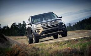 Картинка движение, Ford, обочина, SUV, Explorer, 2016