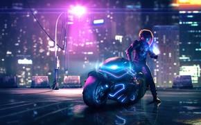 Картинка Ночь, Неон, Стиль, Мотоцикл, Fantasy, Арт, Art, Style, Фантастика, Neon, Illustration, Sci-Fi, Байкер, Motorcycle, Science …