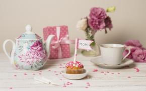 Картинка праздник, подарок, чай, кекс, День Матери