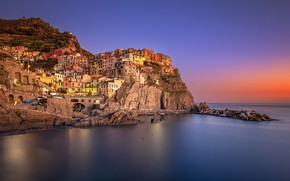 Картинка Италия, дома, скала, Лигурийское побережье, Манарола