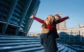 Картинка зима, девушка, счастье, город, настроение, лестница, парень, Oleksii Hrecheniuk