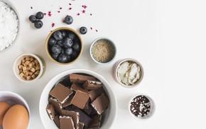 Картинка ягоды, шоколад, черника, cake, выпечка, ваниль