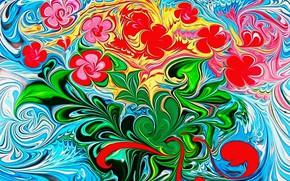 """Картинка абстракция, рендеринг, рисунок, холст, акрил, фантазия автора, """"Весенний букет после долгой зимы"""", приход весны"""