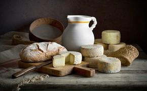 Картинка темный фон, еда, сыр, хлеб, посуда, кувшин, натюрморт, композиция
