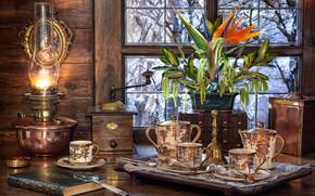 Картинка цветок, ветки, лампа, окно, мельница, посуда, книга, лупа, салфетка, сервиз