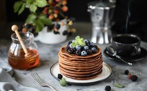 Картинка ягоды, мед, блины, шоколадные