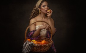 Картинка девушка, украшения, яблоко, фрукты, корзинка, Mahdi Ghannad